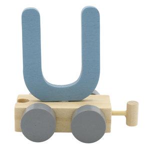 Houten Treinletter U Blauw