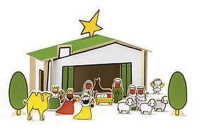 Houten Kerststal naar tekeningen van Dick Bruna